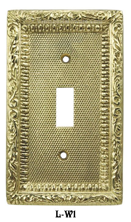 Vintage Hardware & Lighting - Victorian Decorative Brass Single Switch Plate Cover (L-W1)