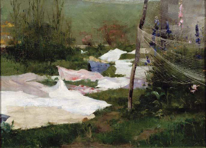 Helene Schjerfbeck, Drying Laundry, 1883. Oil on canvas, 39 × 55 cm (153/ 8 × 215/ 8 in). Finnish National Gallery, Helsinki.