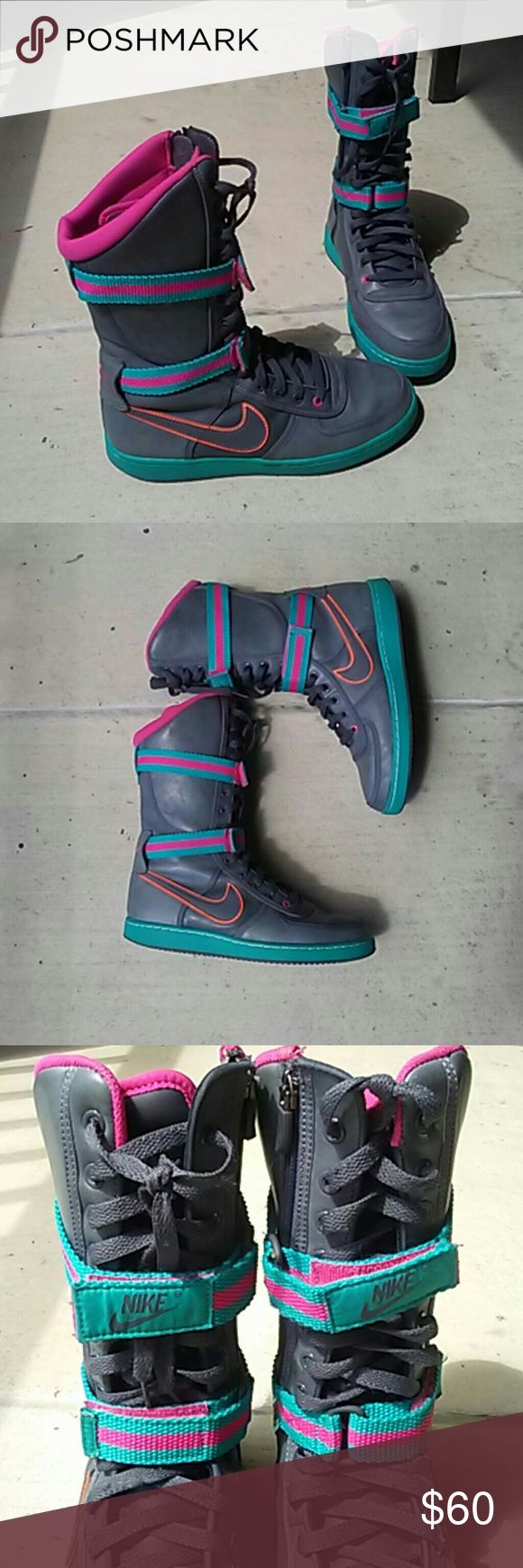Nike hi top sneaker boot Gray multicolored sneaker with zipper and double velcro closure. The accent colors are hot pink, turquoise, and neon orange. Nike Shoes Athletic Shoes