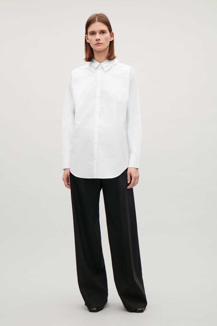 COS image 1 of Shirt with roped detail collar in White