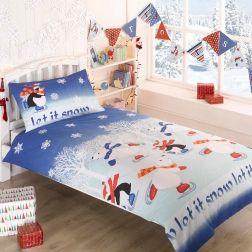 Pościel #Świąteczna - Let it snow. Niebieska pościel z pingwinkami i niedźwiedziami polarnymi.
