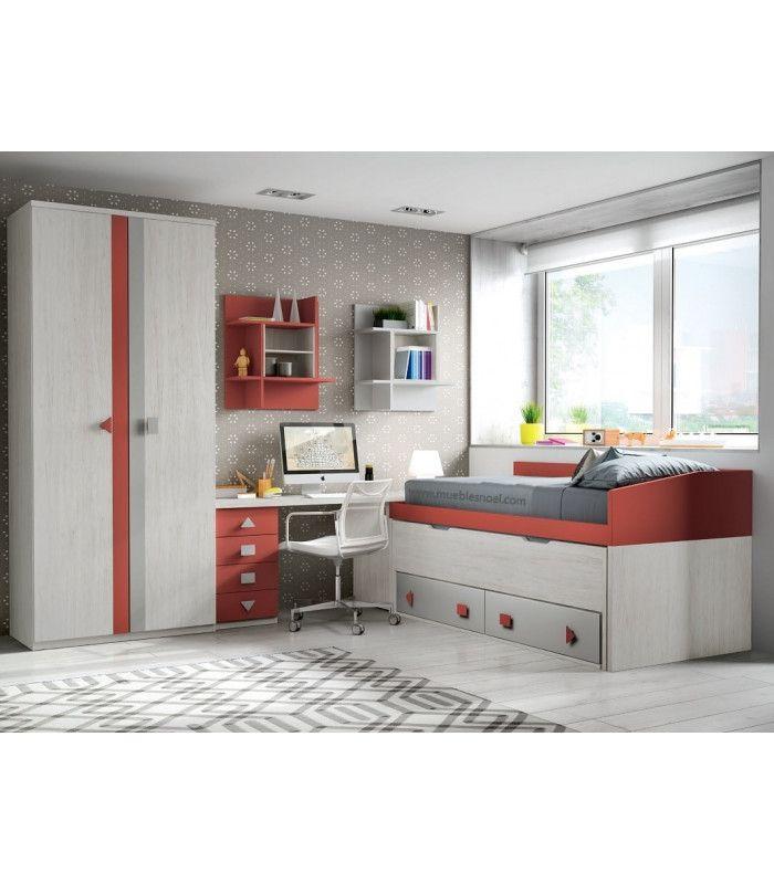 Dormitorio juvenilOn-line compuesto por camas con cajones, armario, mesa y estanterías. Diseño Juvenil Noel.