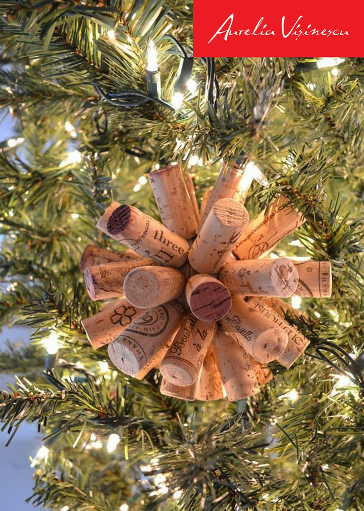 Christmas fir tree. Wine corks. Decorations.