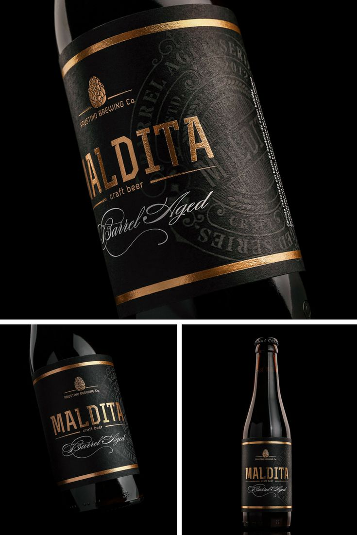 This label was made for a special edition oak barrel aged beer. 'Maldita' always had a formal look and was afraid to be unrecognizable to the public if its image suffered too many changes. The solution was to create a stamp and work the typography, making it more premium looking while keeping the original overall look.