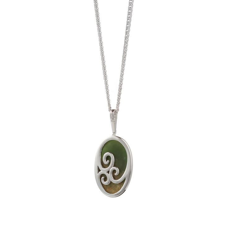 New Zealand Pounamu Oval Necklace - Back view of these necklaces showing the spirals