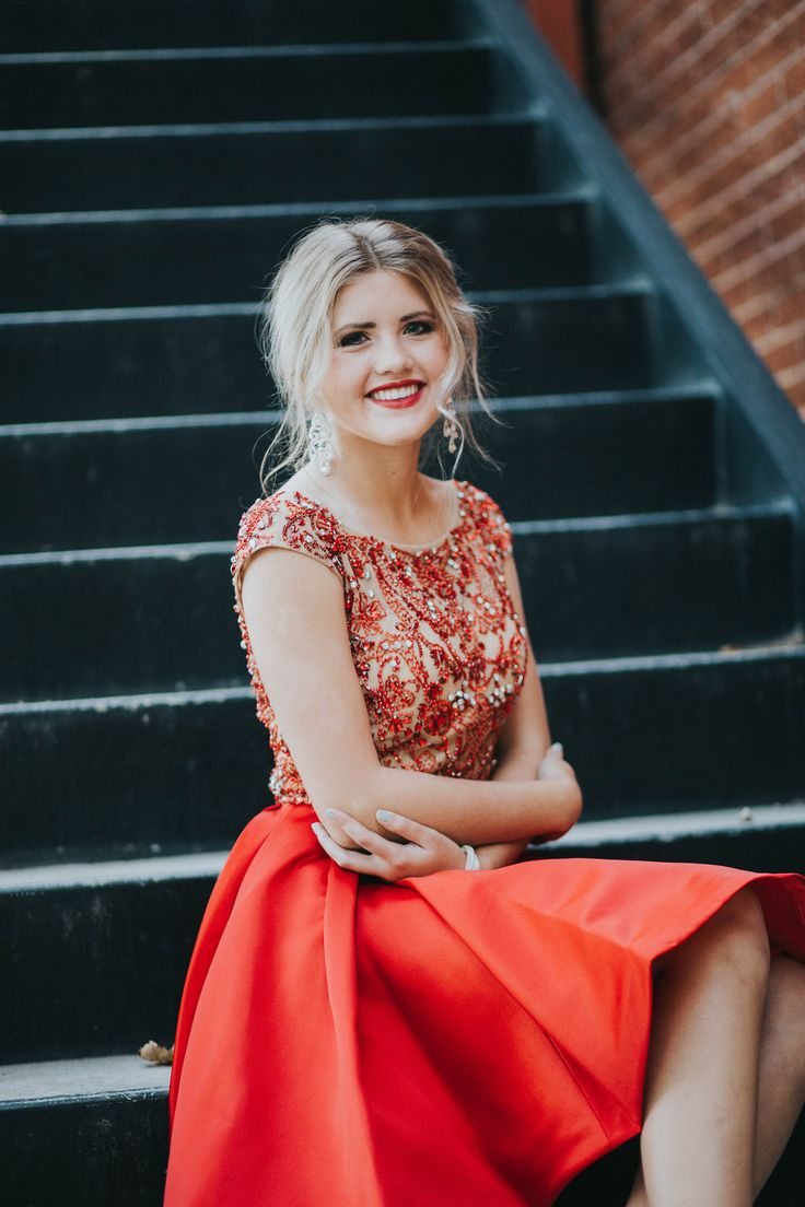 Utah Homecoming Homecoming Dress Short dress formal event Sweethearts Sherri Hill Beaded top Red Red short dress Cap Sleeve Modest  Modest Homecoming Dress Satin bottom