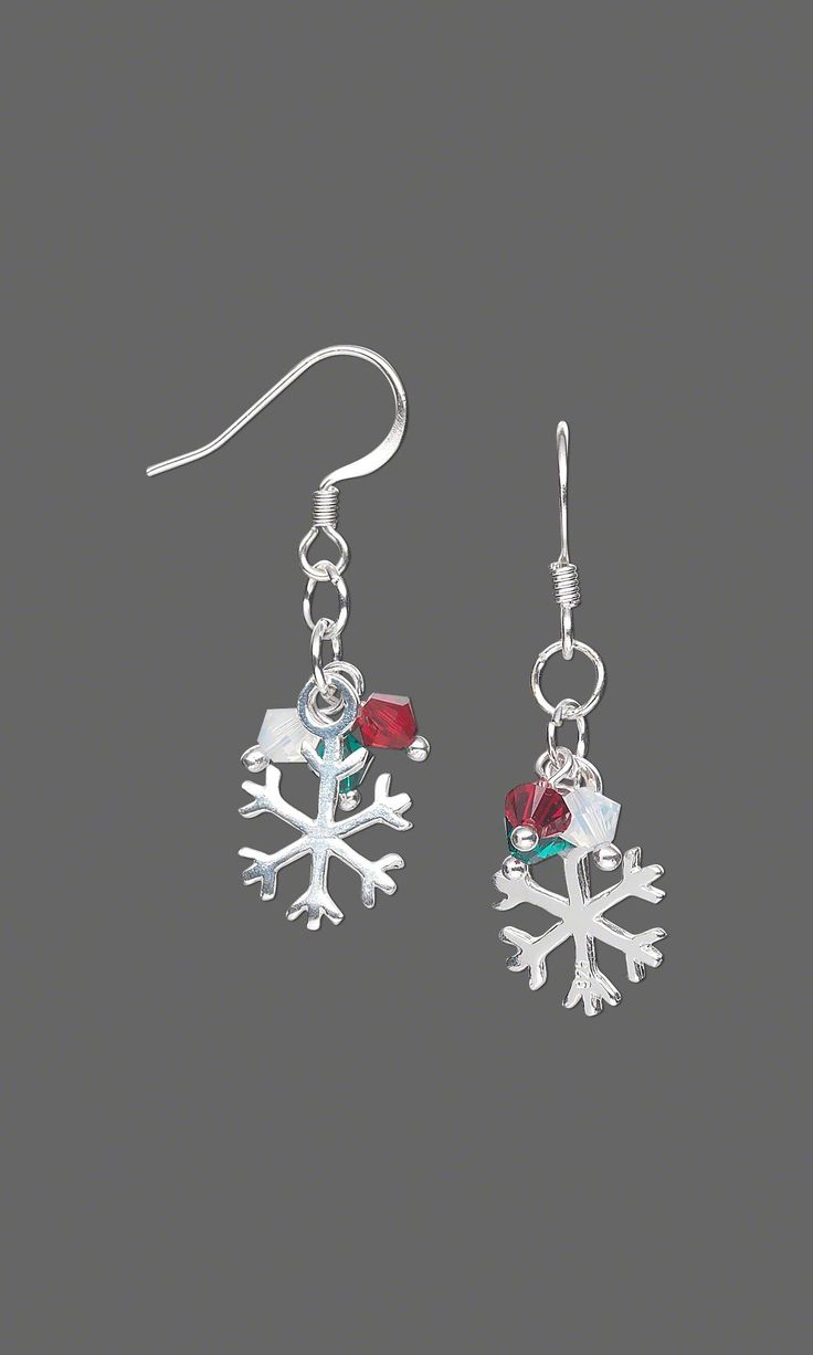 Jewelry Design - Earrings with Swarovski Crystal Beads and Sterling Silver Snowflake Charms - Fire Mountain Gems and Beads