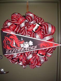 Arkansas Razorback Wreath by SparklePlentyEvents on Etsy, $90.00