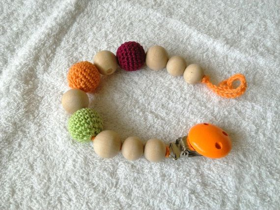 Crochet pacifier clip paci clip teething dummy by #RedOgeeSheep #crochetpacific