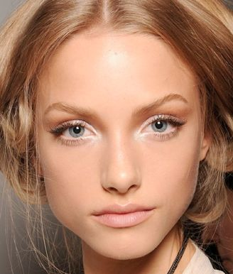 Very light and minimal makeup, slight accentuation on outer parts of the eye, and brighten in the inner corner to give a youthful glow. Not good for eyes that are wide apart already.