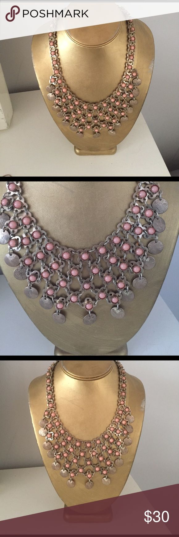 Coral statement necklace Gold and coral bib statement necklace Ann Taylor Jewelry Necklaces