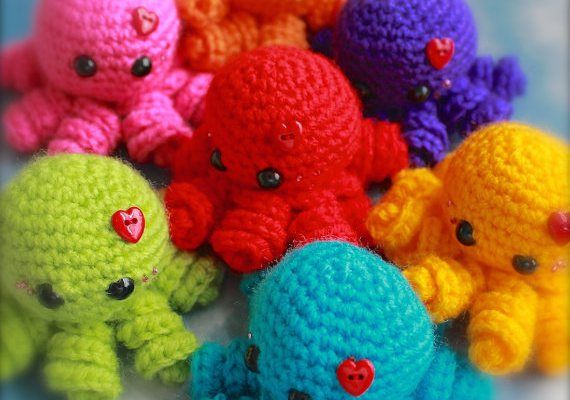 This is my favorite octopus pattern, and great for a first one. There's no color changes, and only two parts (the legs are all made in a circle). Plus, they're really cute!