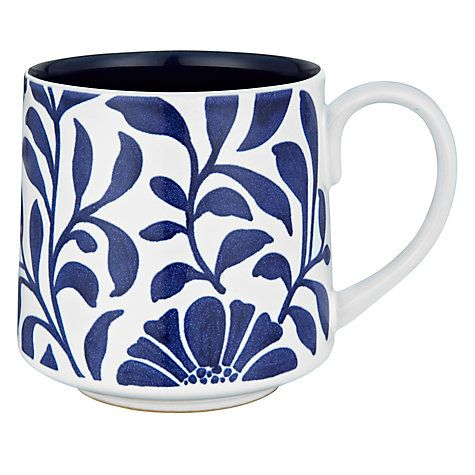 Buy Denby Malmo Bloom Mug, 0.3L, Blue/ White Online at johnlewis.com
