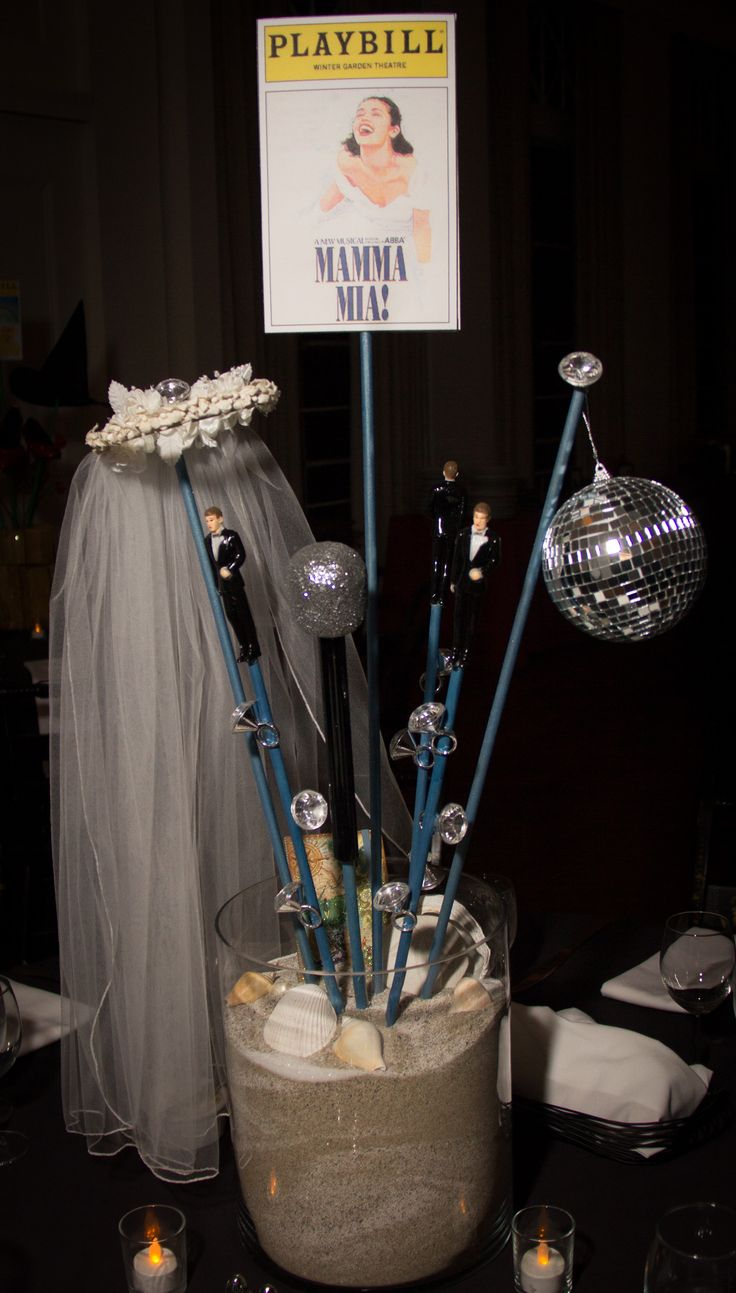 Mamma Mia Centerpiece Broadway Bat Mitzvah #BatMitzvahCenterpiece for rent Broadway party theme ideas #DIY #Broadway #DIYCenterpiece
