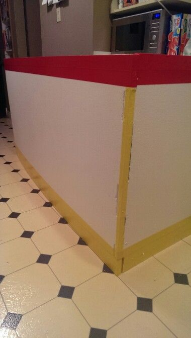 Do it yourself Penalty Box Game  great for Stag and Doe's  All you need is one 8x4 sheet of styrofoam, red and yellow duct tape and a little time. Cut the sheet to 6x3  and tape away
