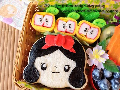 Flip Cutezcute cutter upside down to create Snow White Face by Bento Singapore 楽しくてお弁当とキャラベン: 白雪姫のキャラベン Snow White Bento
