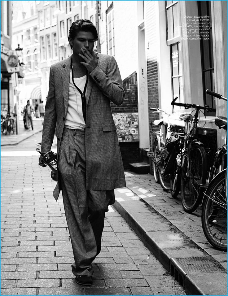 Jordan Barrett embraces relaxed tailoring from Lanvin for the pages of Vogue Man Netherlands.