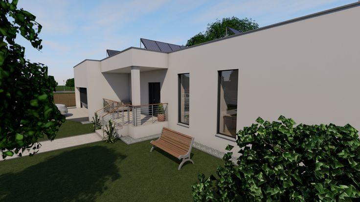 Modern, 5 szobás, 229 m2-es földszintes családi ház mintaterve, alaprajzzal Az utcai homlokzat keletre néz.