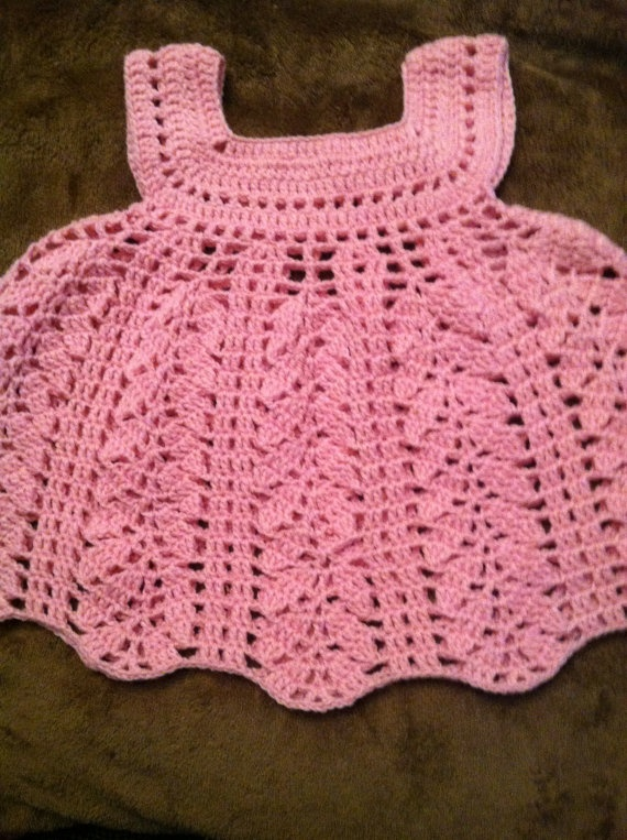 Pink crocheted baby dress by PininasCreations on Etsy, $35.00