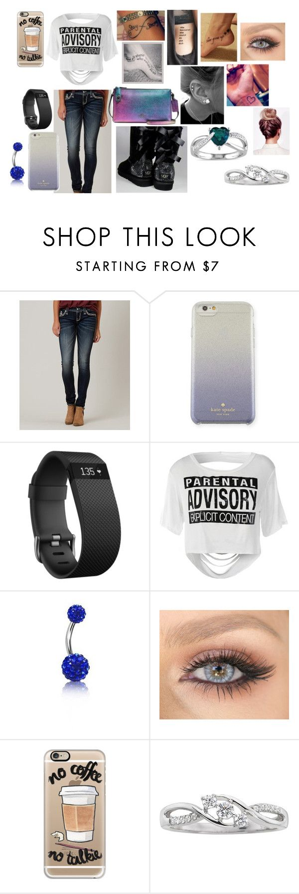 """""""Watch Out"""" by tealzebra36 ❤ liked on Polyvore featuring Rock Revival, UGG Australia, Kate Spade, Fitbit, Bling Jewelry, Casetify and Miadora"""