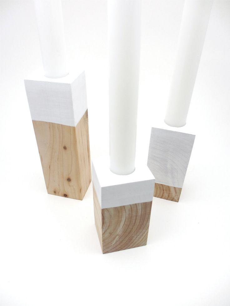 WOOD CANDLE HOLDERS Scandinavian Design Danish Modern Reclaimed Wood Decor Modern Home Decor. $58.00, via Etsy.