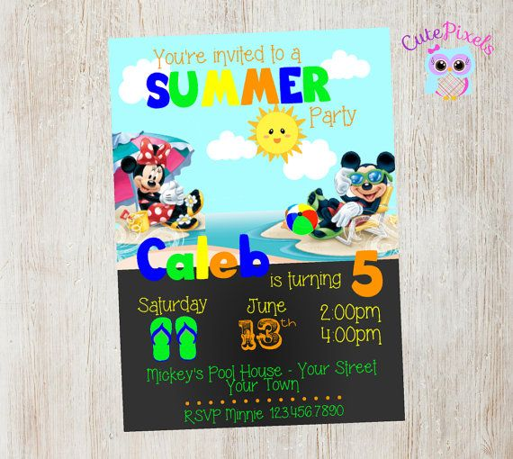 Mickey Mouse Summer Invitation, Click to see details, Use Coupon Code PIN15 to get 15%off - CutePixels shop etsy.me/1S7ksKd