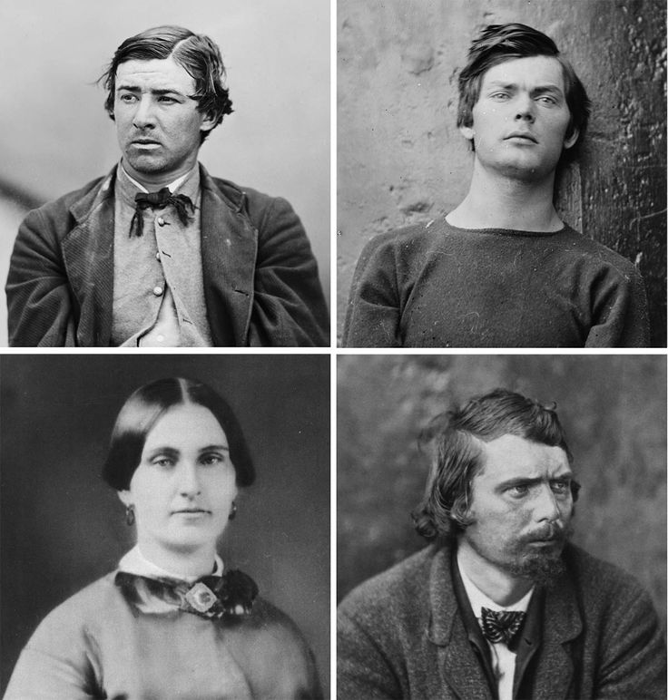 The four condemned conspirators: David Herold, Lewis Powell, Mary Surratt and George Atzerodt (from left to right).