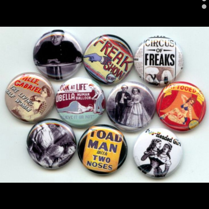 Sideshow Circus Freaks Carnival pinback button set by Yesware11 on Etsy.. Click for details!