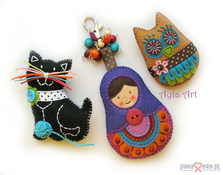 Pakamera Artystyczna - broszki - Matrioszka, sowa i kotek dla Agnieszki :)