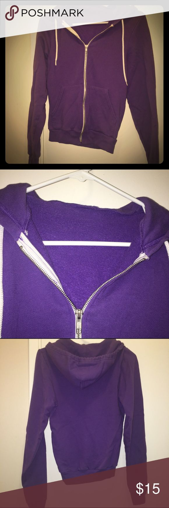 Purple American Apparel Zip Up Hoodie American Apparel Classic Women's Zip Up Hoodie. Super comfy! Very loved and washed a few times. No stains or rips. ALSO HAVE IN YELLOW American Apparel Jackets & Coats