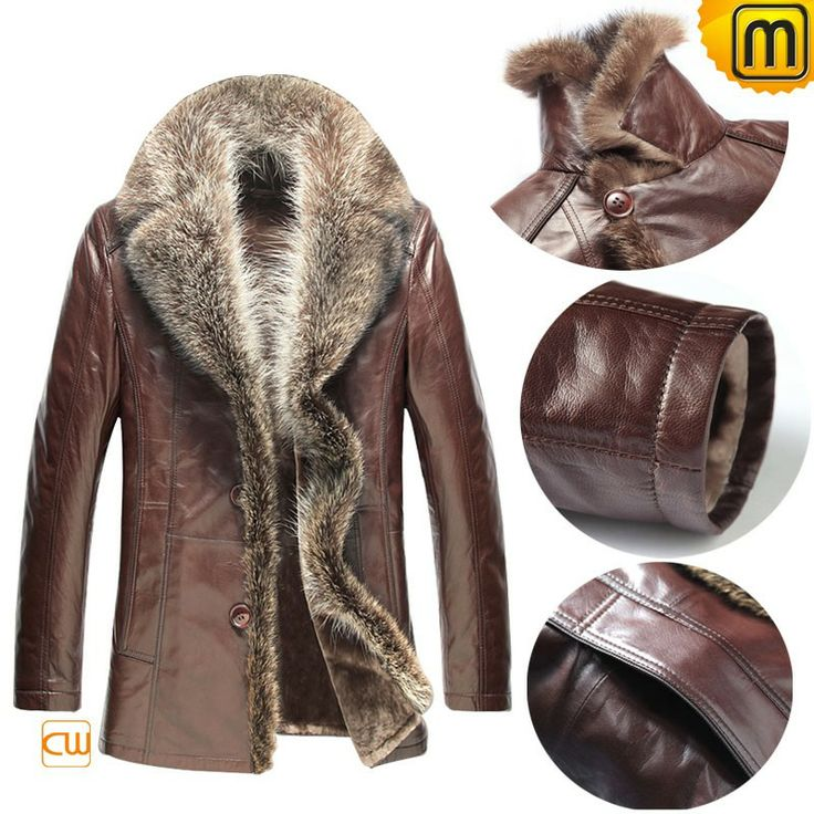 Best looking winter clothing raccoon fur trimmed mens sheepskin coat offers plenty of warmth and protection to you in chilliest of winter, buy this comfortable sheepskin coat