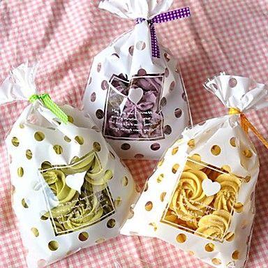 50st witte stip cookie-bakkerij snoep koekje sieraden gift plastic zak bruiloft kindje verjaardag shower partij decoraties 2016 – €9.59