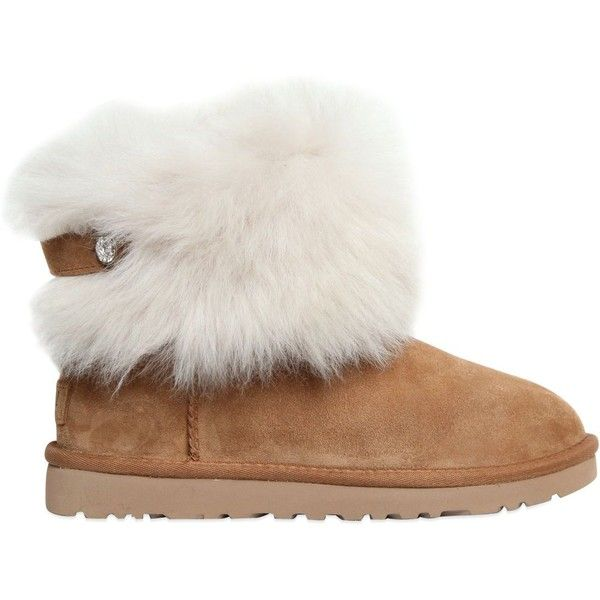 Ugg Australia Women Valentina Shearling Boots ($395) ❤ liked on Polyvore featuring shoes, boots, chestnut, ugg australia boots, rubber sole shoes, sheep fur boots, shearling-lined boots and shearling shoes