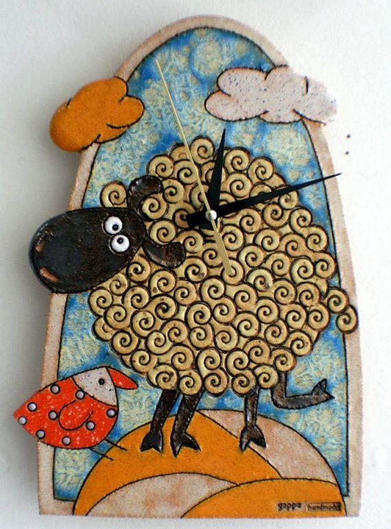 https://www.etsy.com/listing/215617759/handmade-ceramic-clock-pottery-sheep