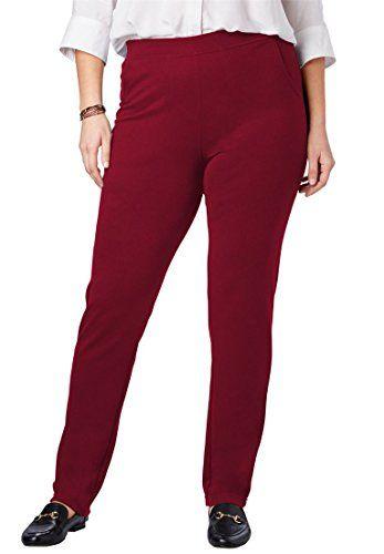 3a60542156 Fashion Bug Women's Plus Size Tall Slim Fit Ponte Knit Pants Rich  Burgundy,20 T www.fashionbug.us #plussize #fashionbug #pants #capri