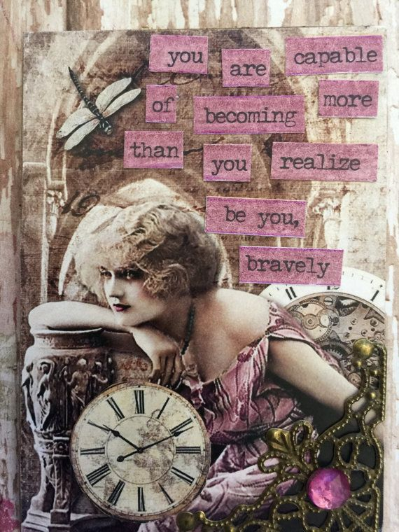 Be You Bravely Artist Trading Cards Aceo Handmade by Alteredhead