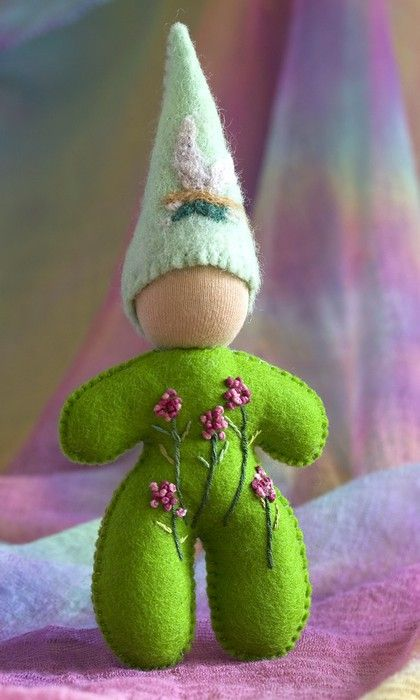 simple lines with beautiful stitching- felt fairy gnome elf