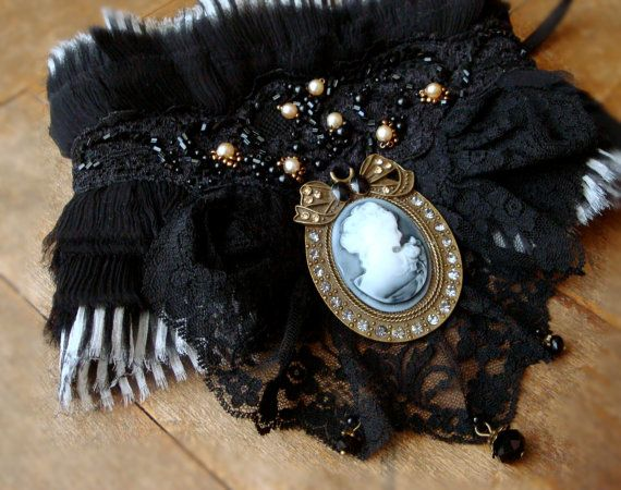 Victorian Inspired Neclace, Vintage Style, Black Lace Collar, Cameo, Romantic Goth, hand beading