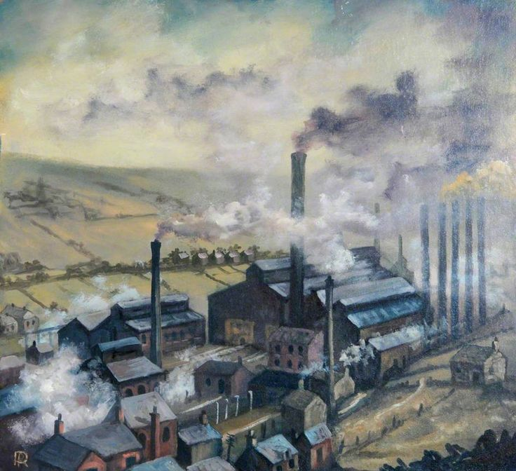 Robert Penistone - Industrial Buildings with Chimneys and Smoke, Surrounded by Houses and Fields, 1990s
