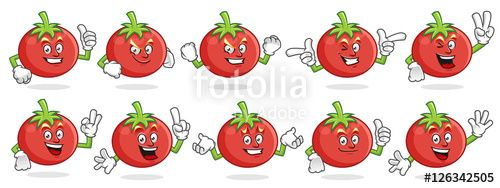 """Download the royalty-free vector """"tomato mascot vector pack, tomato character set, vector of tomato """" designed by ednal at the lowest price on Fotolia.com. Browse our cheap image bank online to find the perfect stock vector for your marketing projects!"""