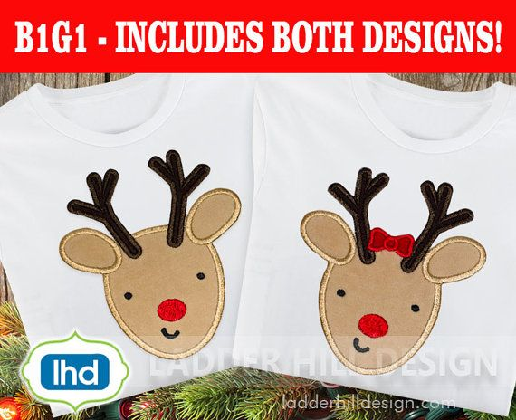 Reindeer Head Machine Applique  My First Christmas Applique -- B1G1 Free Embroidery - Christmas Embroidery - Christmas Embroidery Applique