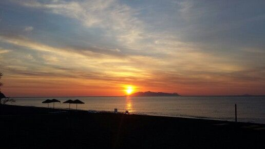 Sunset at sandorini island.