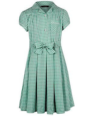 Girls School Gingham Dress – Bottle Green