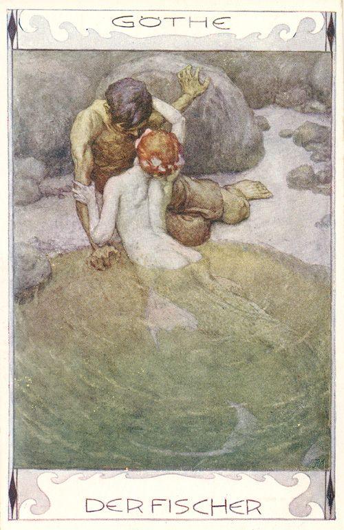Mermaid illustration to Goethe's 'Der Fischer' by Erich Schütz, ca. 1920