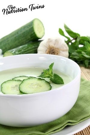 Cucumber and Yogurt Soup   Creamy and Refreshing   Great for Weight Loss, Only 87 Calories & Satisfying with 16 Grams Protein   Only 15 Minutes to Make   For MORE RECIPES, fitness and nutrition tips please SIGN UP for our FREE NEWSLETTER www.NutrtiionTwins.com