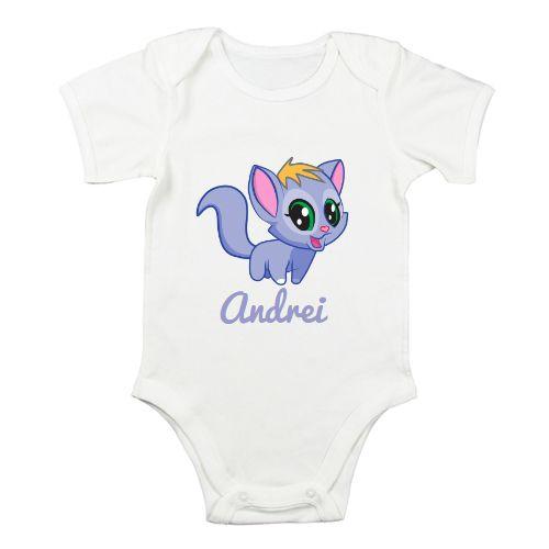 Body pentru bebe personalizat cu Pisicuta albastra sau roz si prenumele…