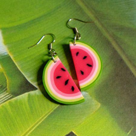 brincos melancia - watermelon earrings