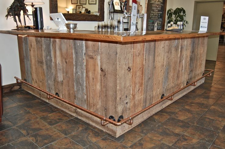 reclaimed wood L shaped bar - Google Search