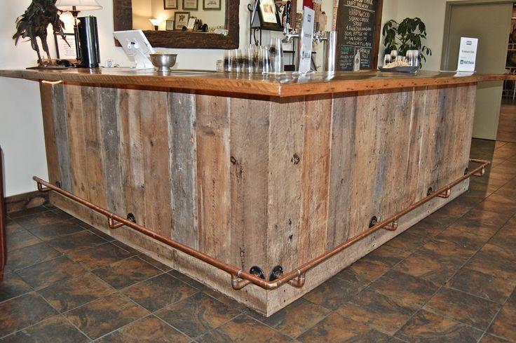reclaimed wood L shaped bar - Google Search