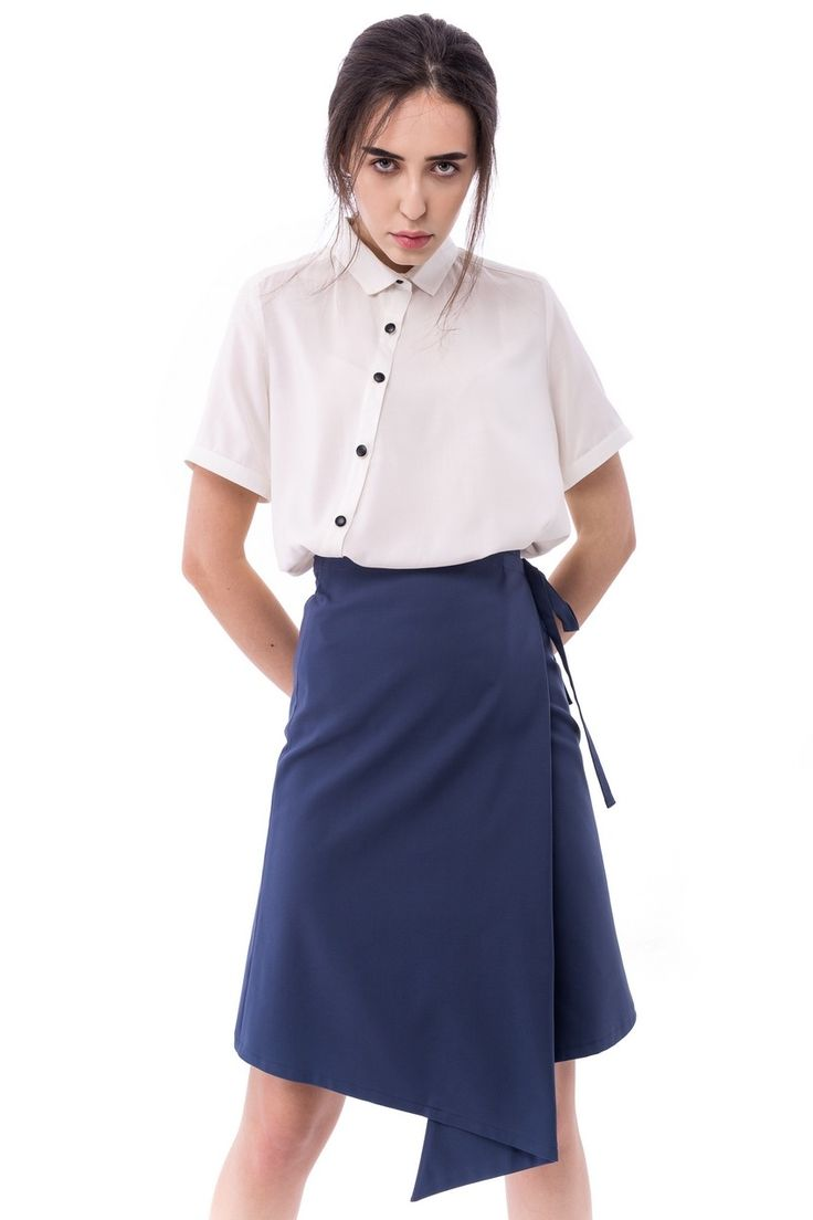 ink blue wrapped skirt